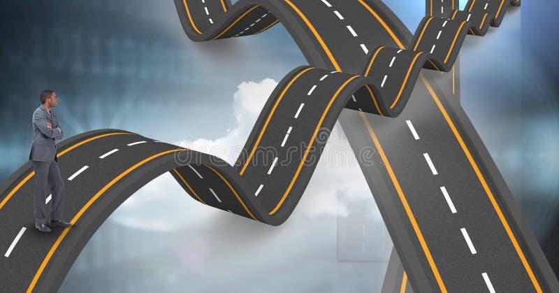 站立在波浪高速公路的商人的数字式综合图象 免版税库存图片