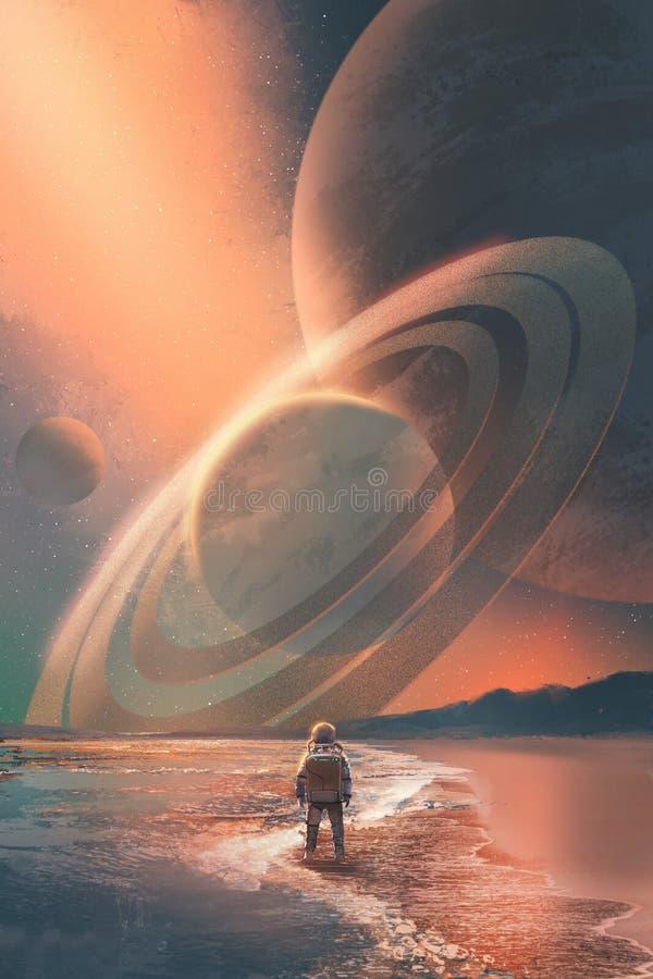 站立在海滩的宇航员看在天空的行星 向量例证