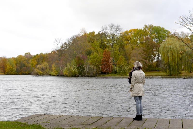 站立在湖的孤独的妇女 图库摄影