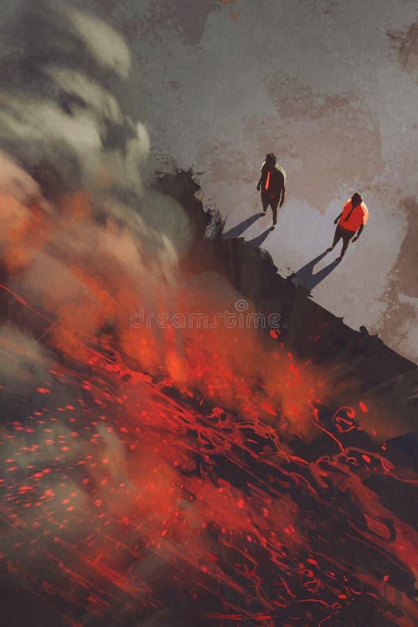 站立在火山岩峭壁的边缘的两个人与熔岩的 向量例证