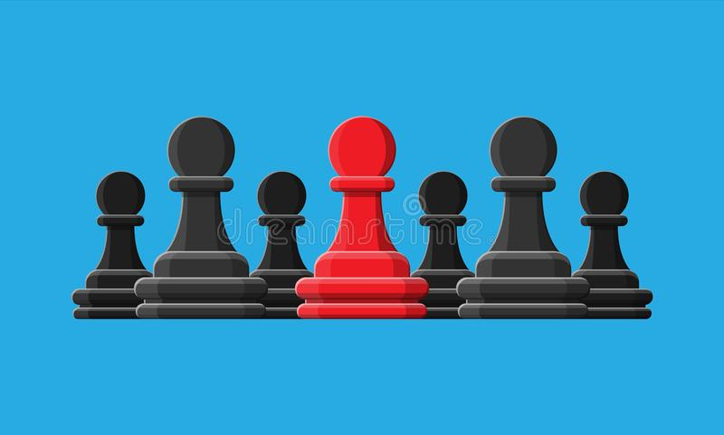 站立在灰色中部分的红色独特的棋典当 库存例证