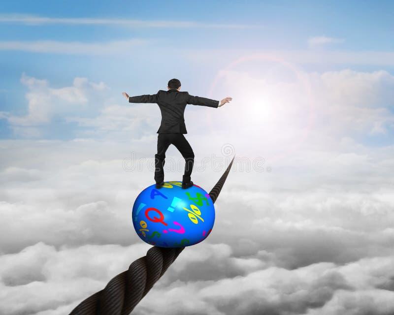 站立在球顶部的商人平衡在导线 库存例证