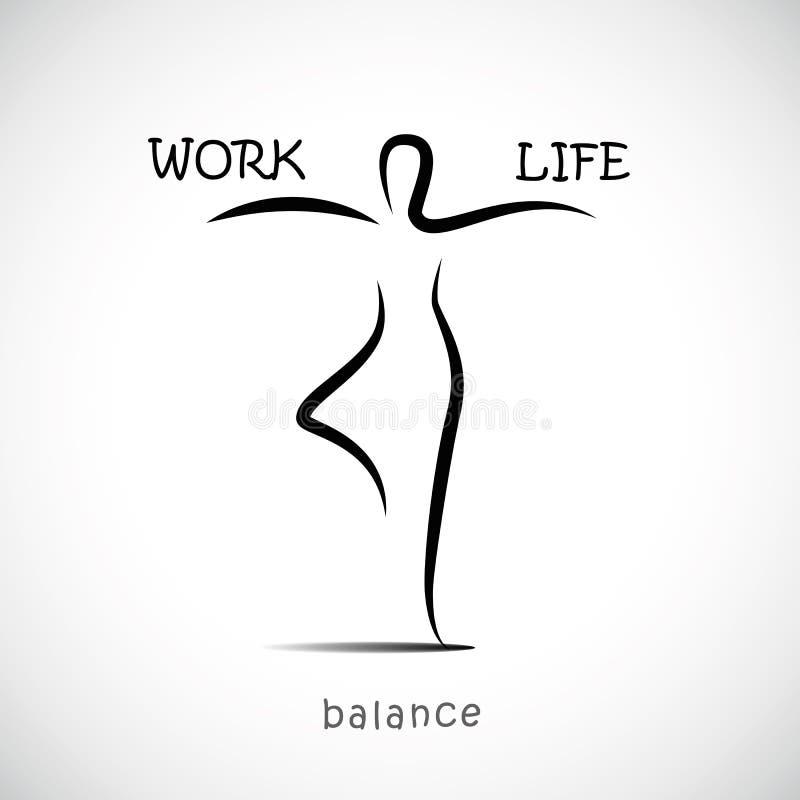 站立在瑜伽姿势和平衡在工作和生活之间的人 库存例证
