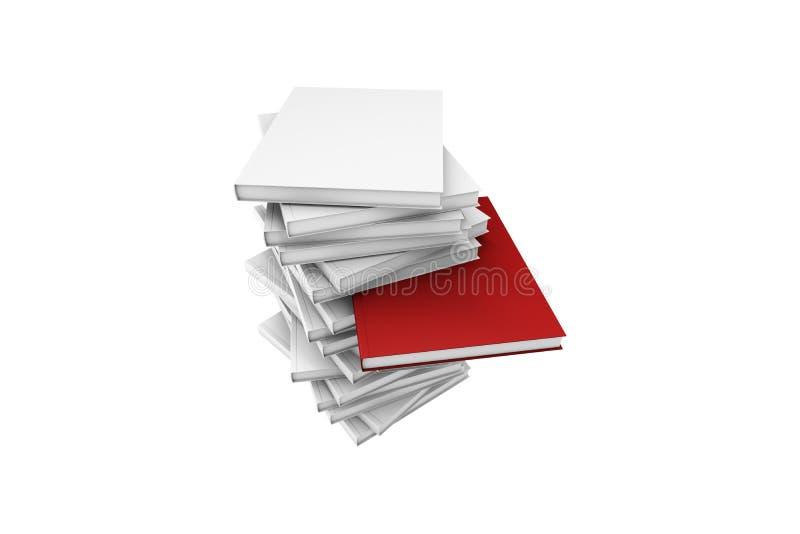 站立在白色空白之间的红色书 皇族释放例证