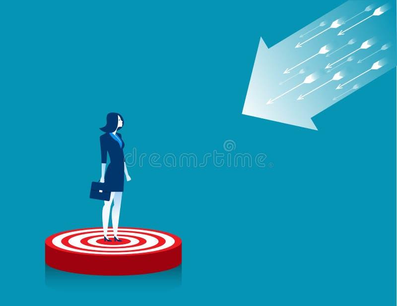 站立在目标的女实业家 库存例证