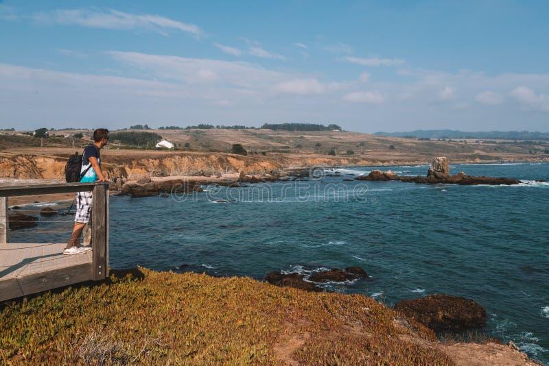 站立在码头边缘的年轻人在加利福尼亚居民旁边 免版税库存照片