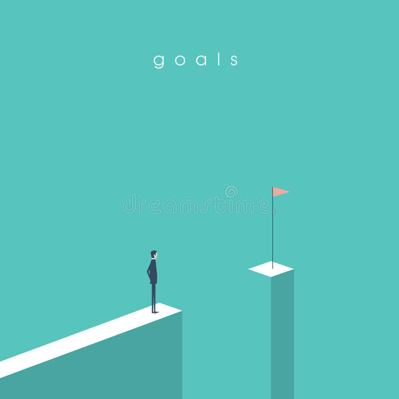 站立在空白前面的商人看旗子 目标、成功、成就和挑战的企业概念 库存例证