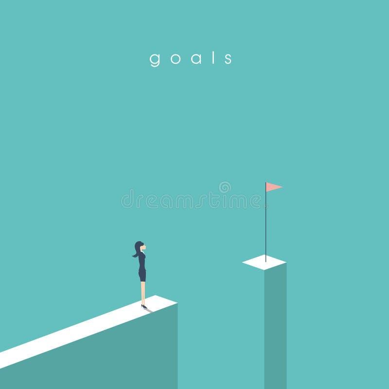 站立在空白前面的女实业家看旗子 目标、成功、成就和挑战的企业概念 皇族释放例证