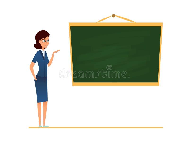 站立在空白的学校黑板前面的老师、辅导者或者教练 也corel凹道例证向量 在玻璃的指向女性的教练员和 向量例证