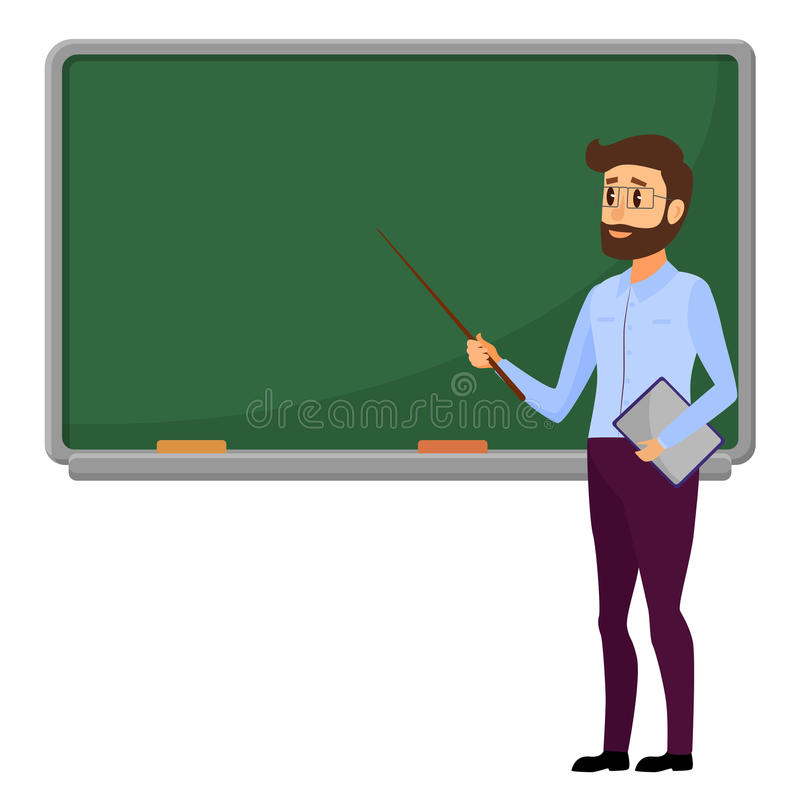 站立在空白的学校黑板传染媒介例证前面的年轻老师 在绿色附近的男性学校教师 皇族释放例证