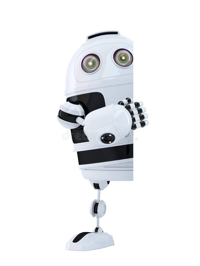 站立在空白的横幅后的机器人 查出 包含裁减路线 向量例证