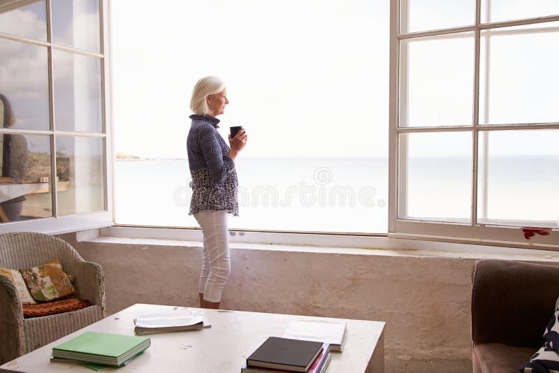 站立在窗口和看美好的海滩视图的妇女 库存图片