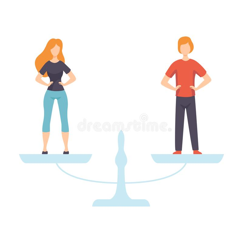 站立在等级,人平等权利,在社会传染媒介例证的男女平等的年轻人和妇女 库存例证