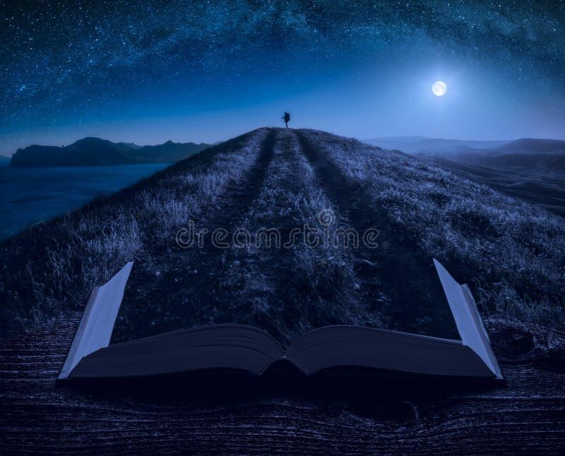 站立在繁星之夜天空下的女孩远足者 库存图片