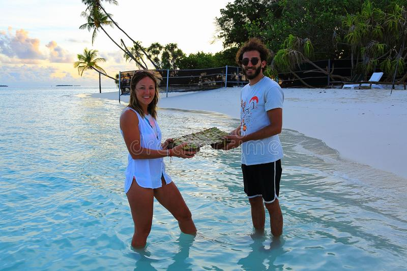 站立在绿松石水中和拿着手工制造装饰木筏的一对英俊的年轻夫妇 r 库存图片