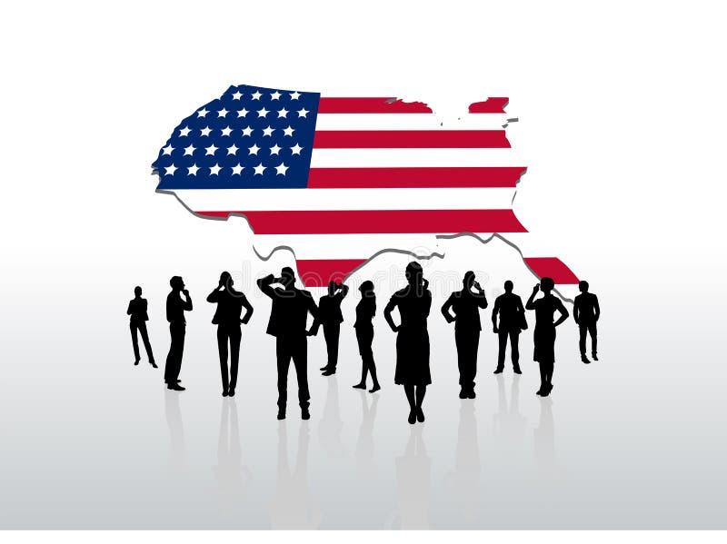 站立在美国下的商人图表 皇族释放例证