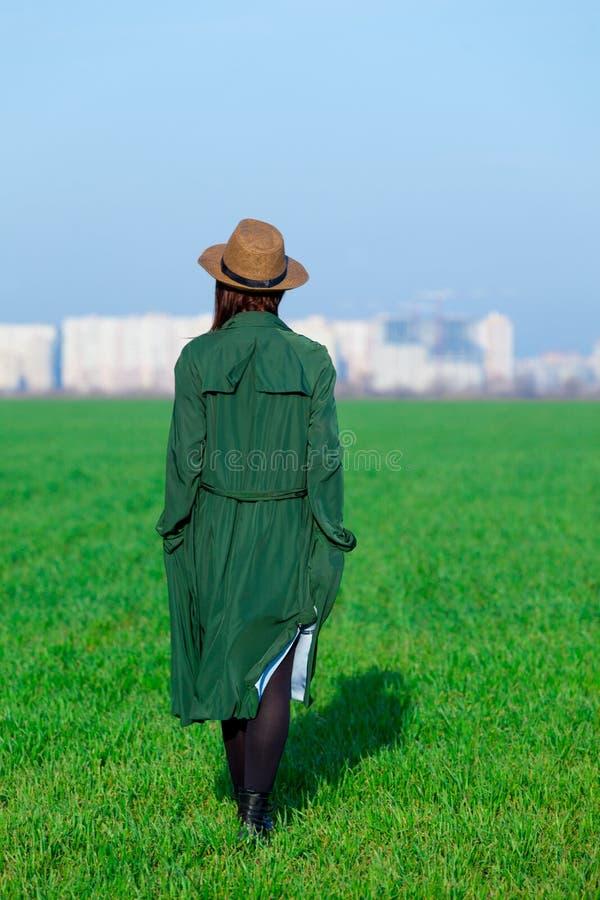 站立在美妙的gre的草的美丽的少妇 库存图片