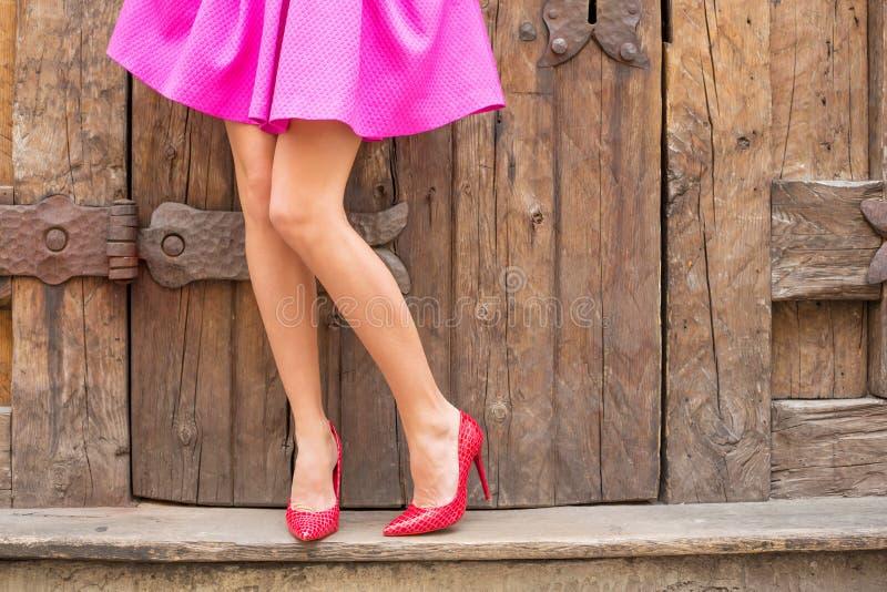 站立在老木门前面的时髦的妇女 免版税库存图片