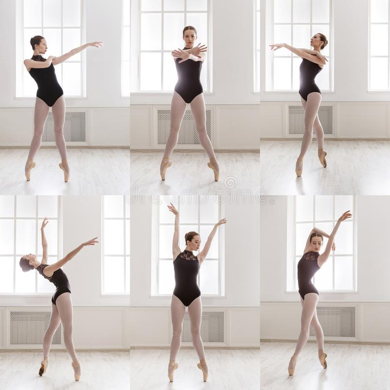 站立在芭蕾的年轻芭蕾舞女演员拼贴画摆在 免版税库存照片
