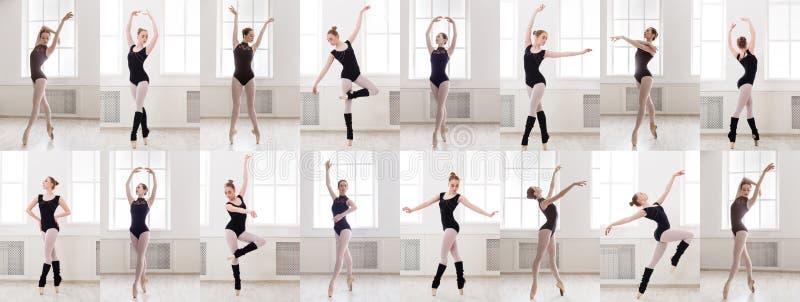 站立在芭蕾的年轻芭蕾舞女演员拼贴画摆在 库存照片