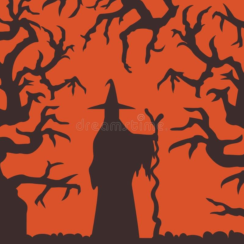 站立在被困扰的森林场面的巫婆剪影 向量例证