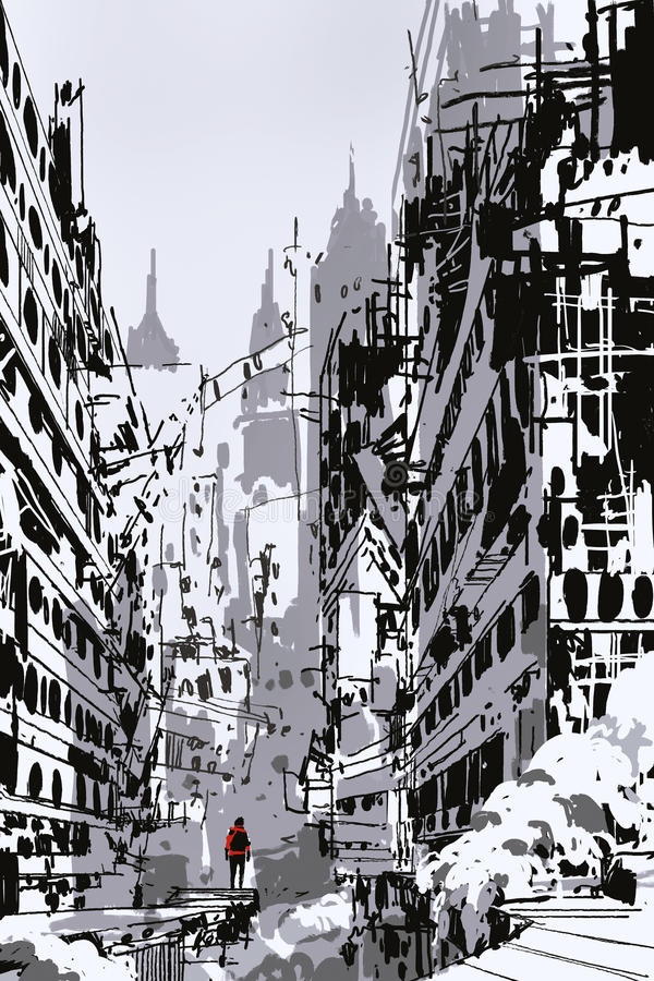 站立在被放弃的城市的人 库存例证