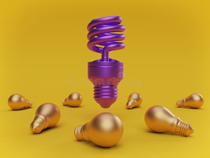 站立在许多白炽电灯泡中的紧凑萤光电灯泡 3d?? 向量例证