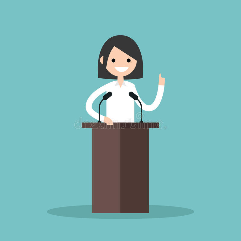 站立在论坛后和指向她的手指的深色的女孩 向量例证