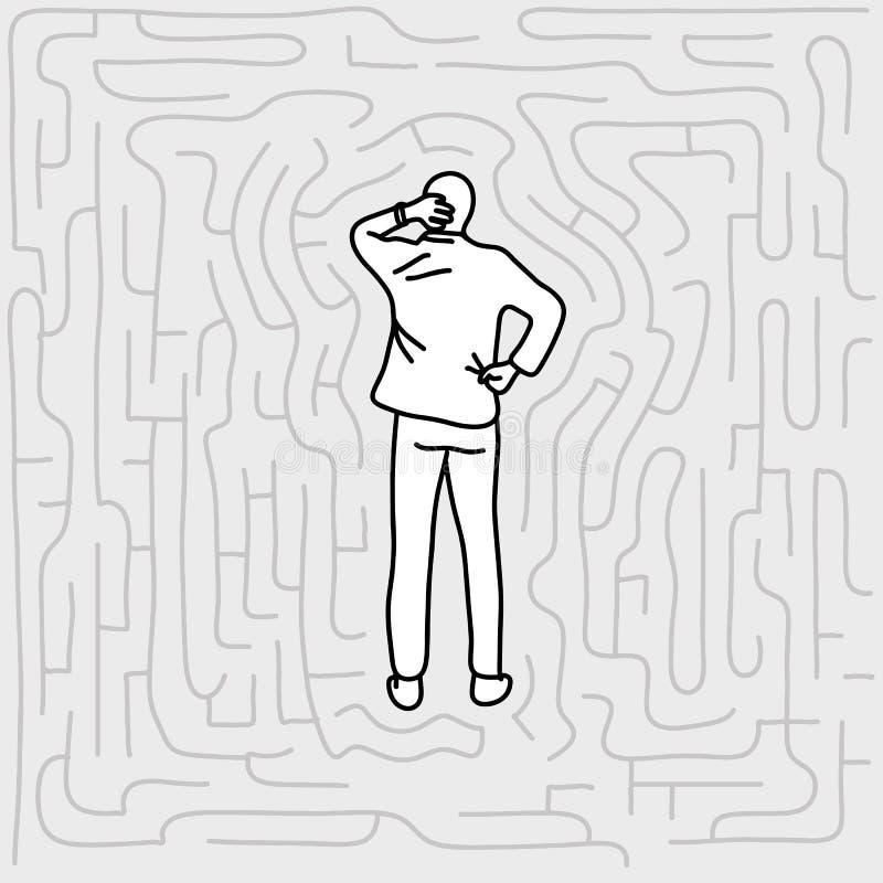 站立在迷宫传染媒介例证乱画的商人 库存例证