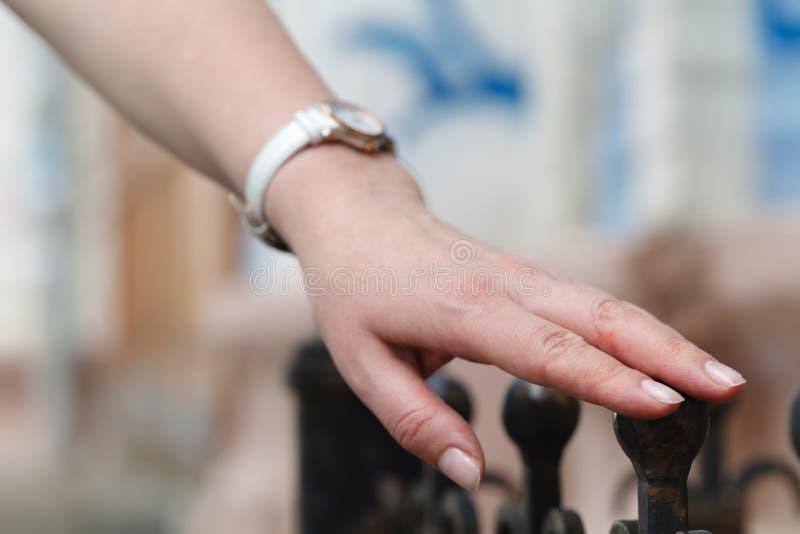 站立在铁篱芭和接触的女孩他的手 库存图片