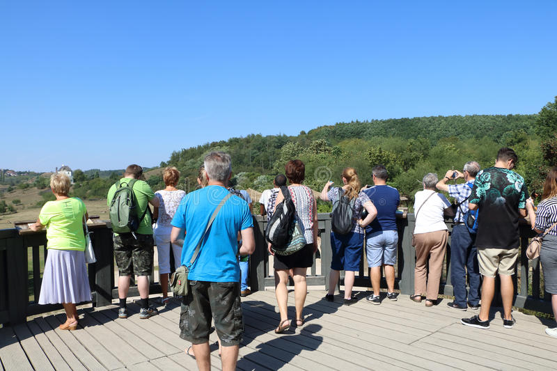 站立在长颈鹿expoisiton上的人人群在动物园Pra里 库存图片
