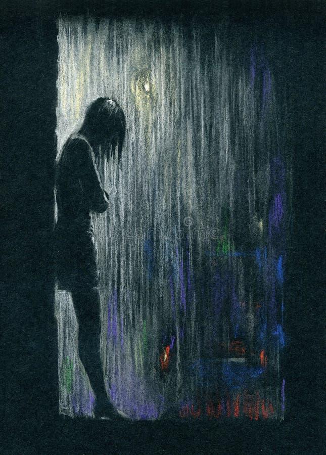雨夜 向量例证