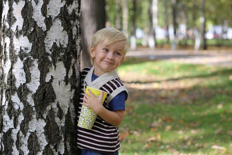 站立在高大的树木附近的小男孩 免版税图库摄影