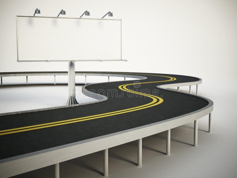 站立在高速公路旁边的空白的广告牌 3d例证 向量例证