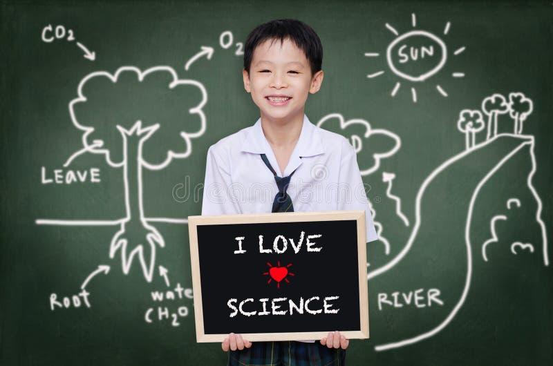 站立在黑板前面的男小学生 图库摄影