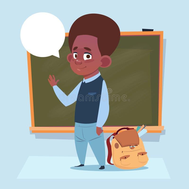 站立在类板男小学生教育横幅的小非裔美国人的男生 向量例证