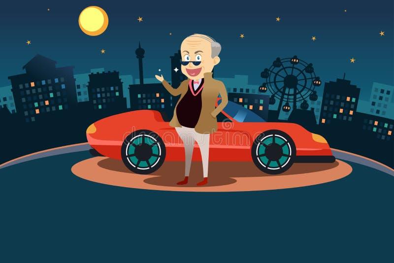站立在他的跑车前面的富人 皇族释放例证