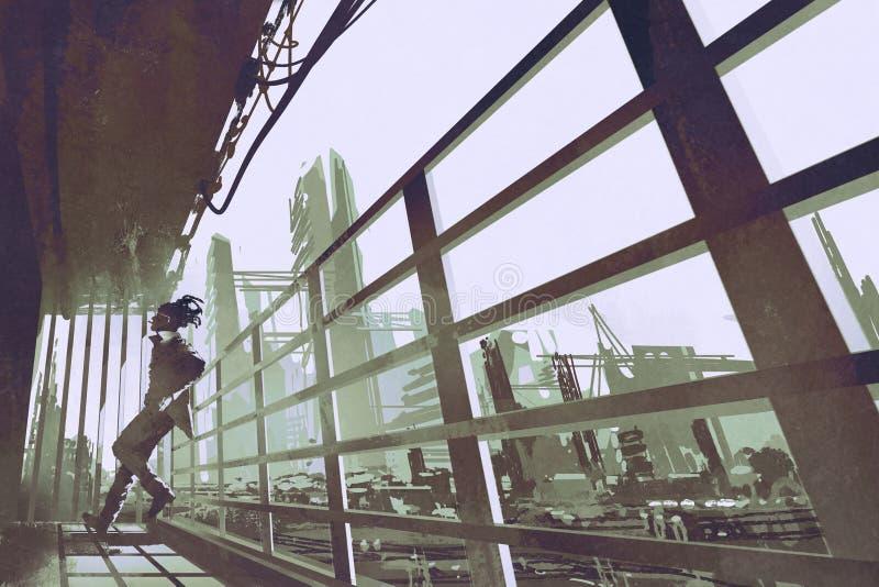 站立在建筑业建筑的人 向量例证