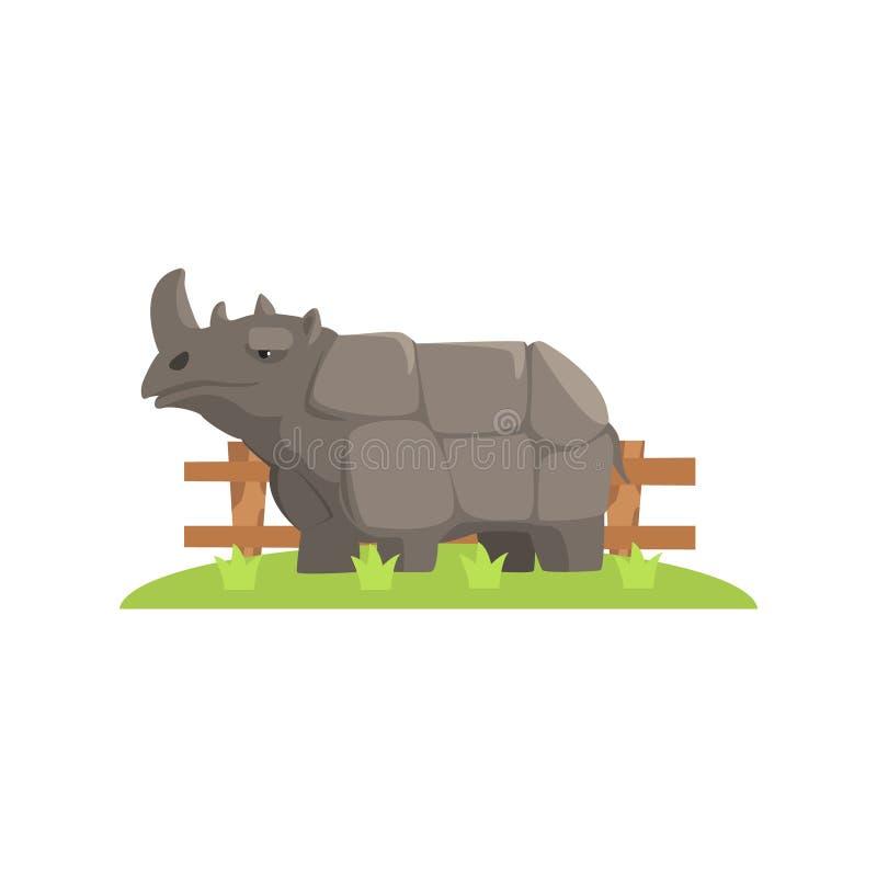 站立在绿草补丁的灰色犀牛在露天动物园封入物 库存例证