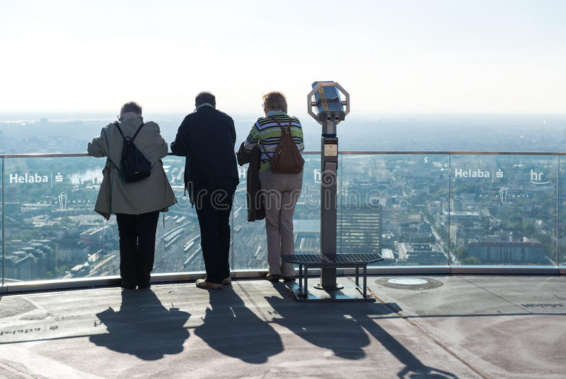 站立在主要塔的访客 库存照片