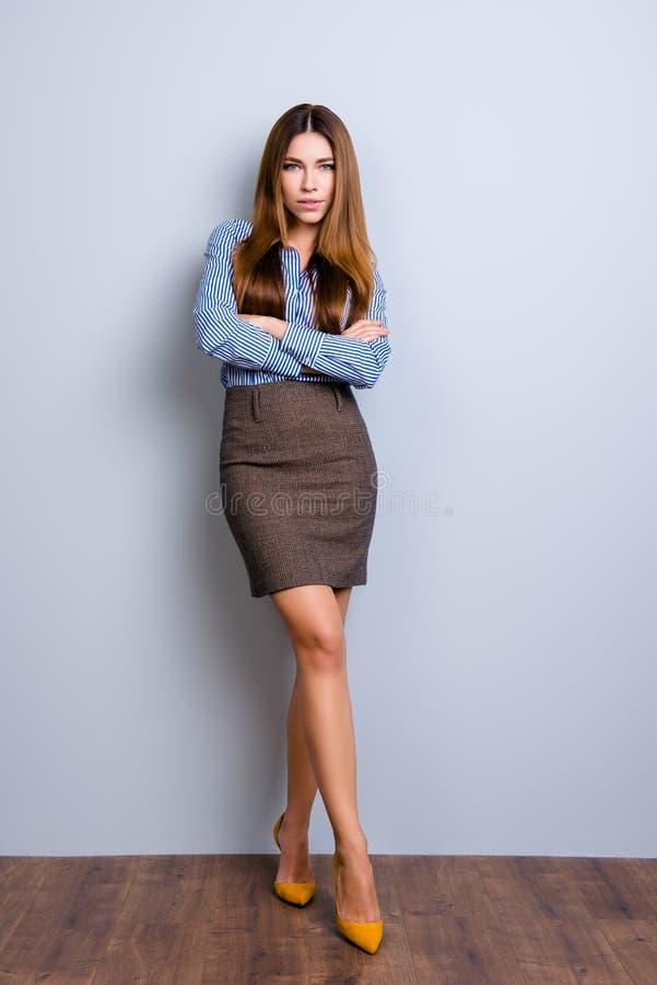 站立在flir的典雅的企业夫人律师大型照片  免版税库存图片