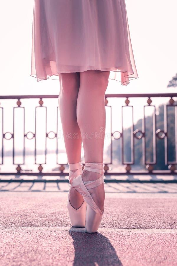 站立在pointe鞋子的美丽的女性芭蕾舞女演员 免版税库存照片
