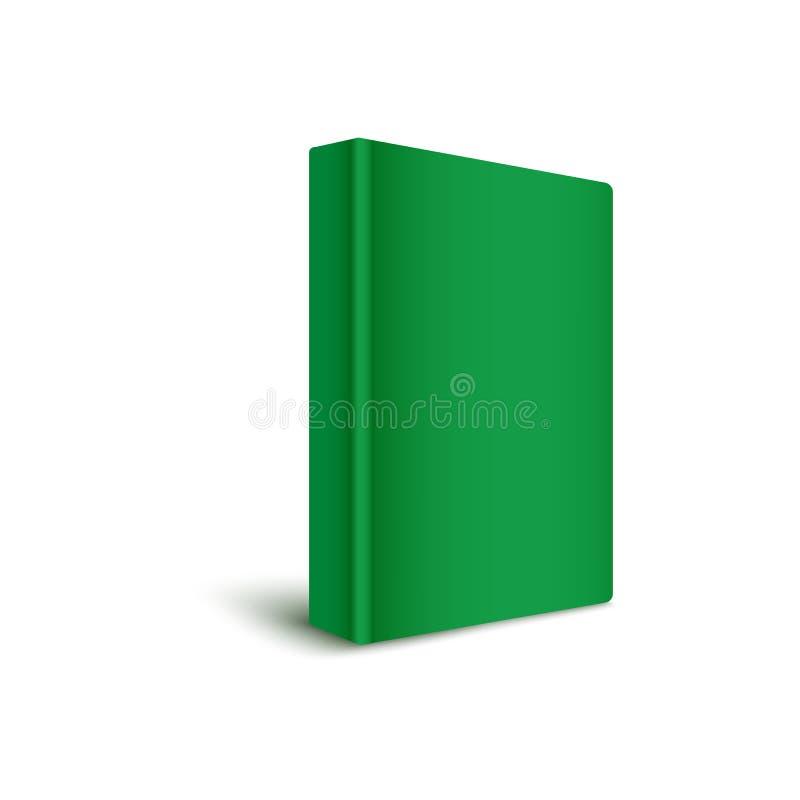 站立垂直在绿色3d现实传染媒介大模型例证的书空白坚硬盖子 库存例证