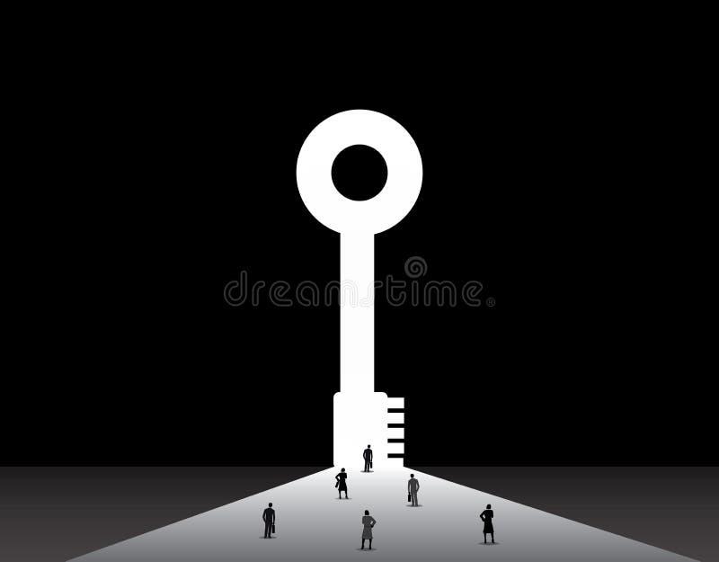 站立大成功钥匙门的前面商人和妇女 库存例证