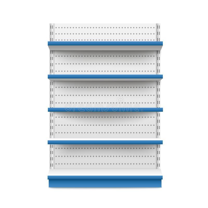 站立宽白色和蓝色大模型正面图传染媒介被隔绝的空的零售摊 皇族释放例证