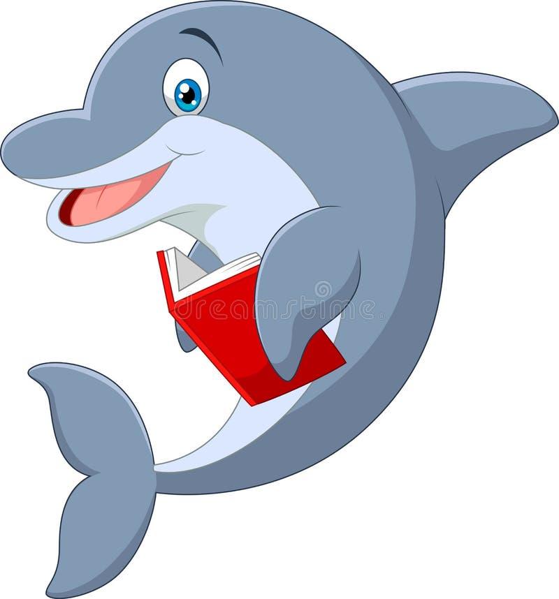 站立小的海豚的动画片拿着书 皇族释放例证