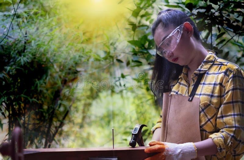 站立建造者的妇女佩带锤击在木的工地工作的被检查的衬衣工作者钉子 免版税图库摄影