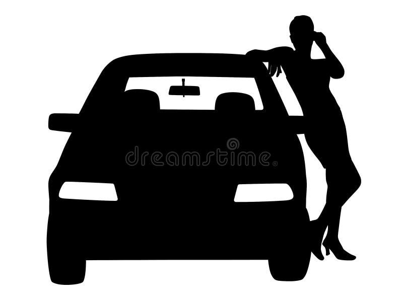 站立或摆在汽车旁边的妇女 库存例证