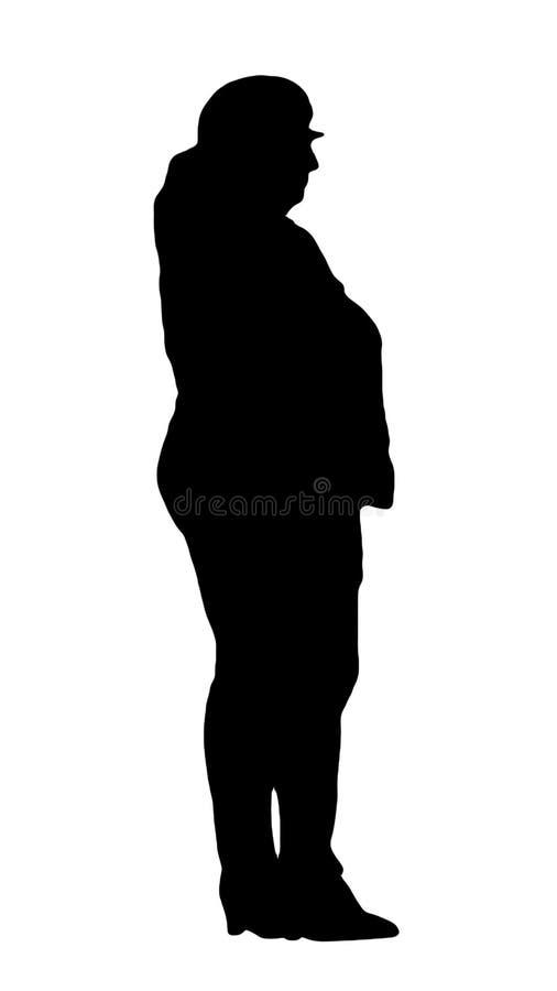 站立斜向一边和握在他的裤子口袋的成人和肥胖妇女的黑剪影手 图库摄影