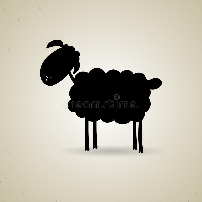 站立斜向一边的绵羊动画片剪影  库存例证